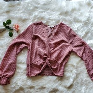 Striped V-neck long sleeves crop top